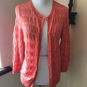 LOFT Sweaters - Loft Coral Cardigan Sz LP